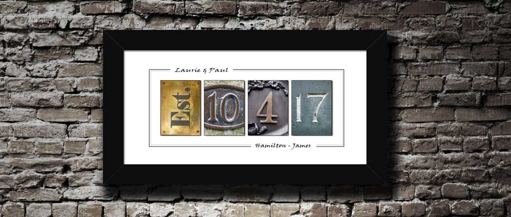Wedding Gift, Street Art Photo Designed Date & First Names Personalized Anniversary Gift