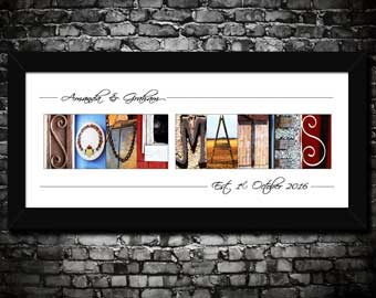 Soul Mates Alphabet Art Print Personalised Wedding Engagement Anniversary Gift