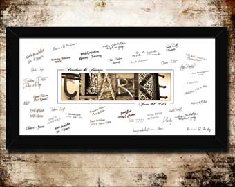 Wedding Anniversary Guest Signing Book Print Letter Art Surname Bride & Groom Clarke Smith Jones Wilson Taylor