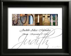 Judith Letter Artwork New Baby Boy Girl Child Christening Shower 1st 2nd 3rd 4th 5th 6th Birthday Gift