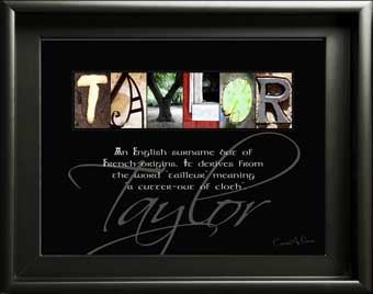 Taylor Ancestry surname origin name meaning Letter Art Artwork Photos craft heritage Tourist Travel Gift